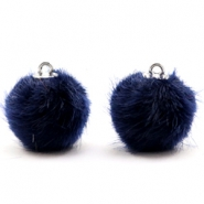 Colgante pompón faux fur 16mm azul midnight oscuro