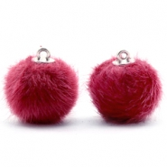 Colgante pompón faux fur 16mm rosa cherish