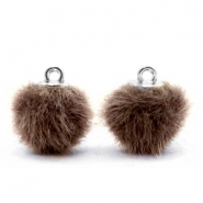 Colgante pompón faux fur 12mm marrón clásico