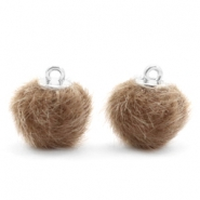 Colgante pompón faux fur 12mm taupe timeless