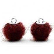 Colgante pompón faux fur 12mm rojo port