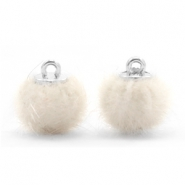 Colgante pompón faux fur 12mm blanco off